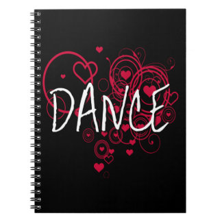 Funky Black and Red Dance Hearts Spiral Note Book