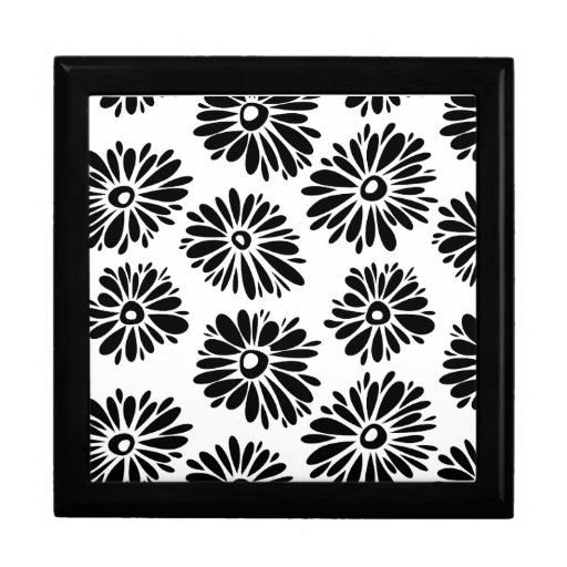 Funky Black and white floral Keepsake Boxes