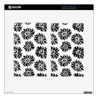 Funky black and white floral kindle fire decal