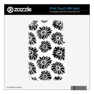 Funky black and white floral skin for iPod touch 4G