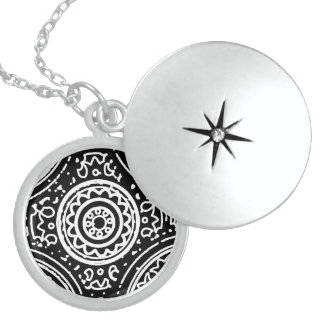 Funky Black and White Mandala Pattern Line Art Locket Necklace