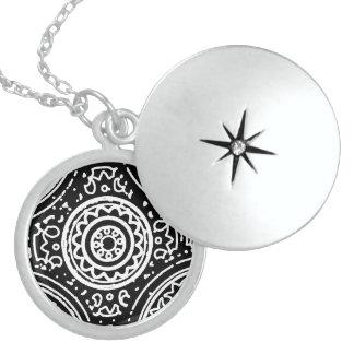 Funky Black and White Mandala Pattern Line Art Round Locket Necklace
