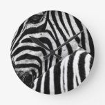 Funky Black and White Zebra Round Clock
