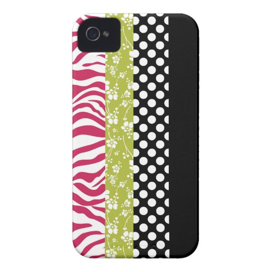 Funky Black Lime and Pink Patterns Case-Mate iPhone 4 Case