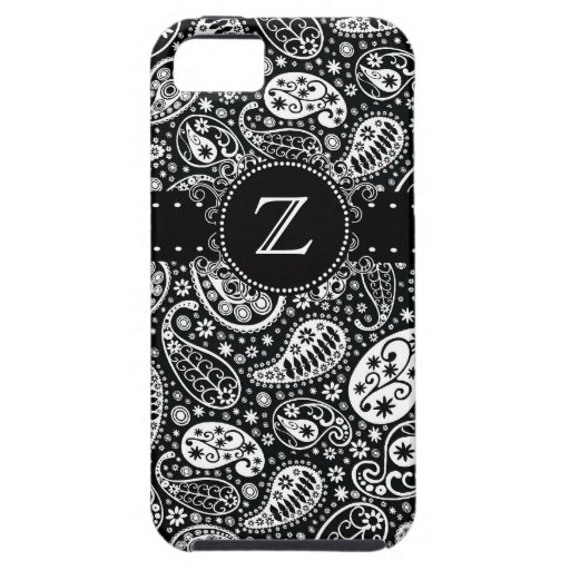 Funky Black Paisley Monogrammed Phone Case iPhone 5 Cover
