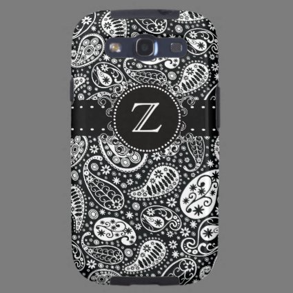 Funky Black Paisley Stripes Monogrammed Galaxy SIII Cases