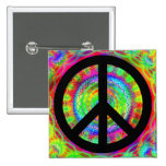 Funky Black Peace Sign 2 Inch Square Button