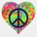 Funky Black Peace Sign Heart Sticker