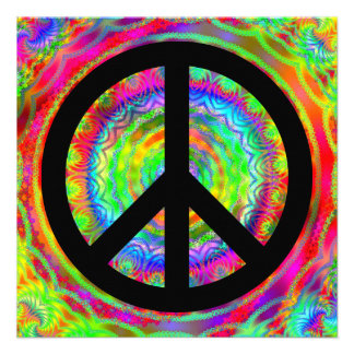 Funky Black Peace Sign Announcement
