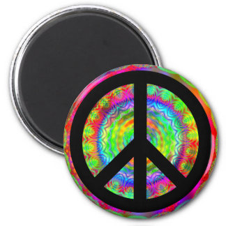 Funky Black Peace Sign 2 Inch Round Magnet