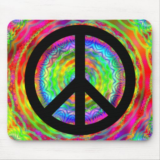 Funky Black Peace Sign Mouse Pads