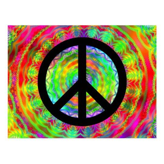 Funky Black Peace Sign Postcard