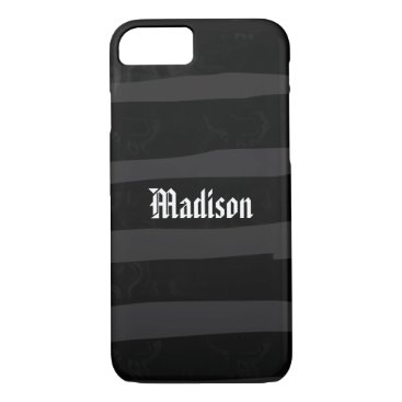 Halloween Themed Funky Black Stripes Custom Name iPhone 8/7 Case