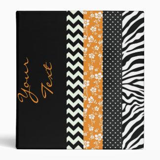 Funky Black/White Pattern w/Orange Pop 3 Ring Binder