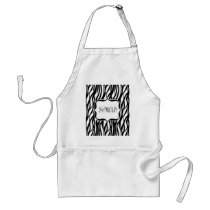 Funky Black/White Zebra Monogram Adult Apron