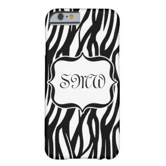Funky Black/White Zebra Monogram Barely There iPhone 6 Case