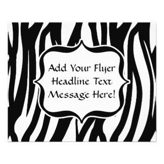 Funky Black/White Zebra Monogram Flyer