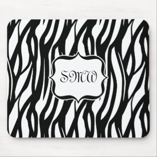 Funky Black White Zebra Monogram Mouse Pad
