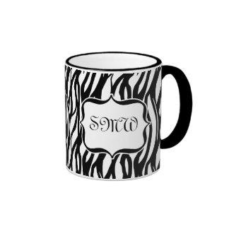 Funky Black/White Zebra Monogram Mug
