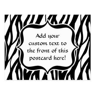 Funky Black/White Zebra Monogram Post Card