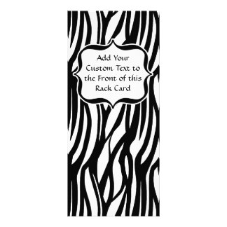 Funky Black/White Zebra Monogram Rack Card