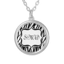 Funky Black/White Zebra Monogram Silver Plated Necklace