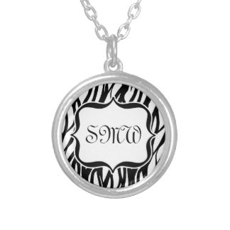 Funky Black/White Zebra Monogram Silver Plated Necklace