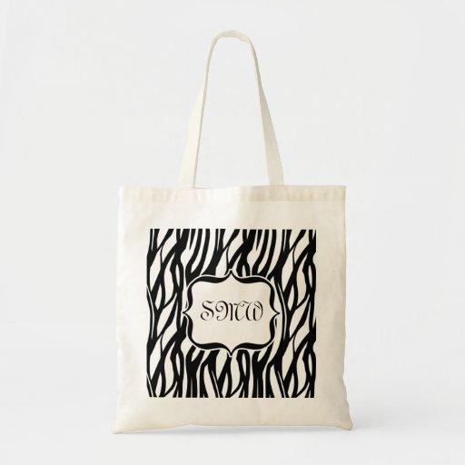 Funky Black/White Zebra Monogram Tote Bag