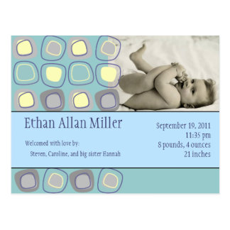 Funky Blocks Baby Photo Announcement Postcard