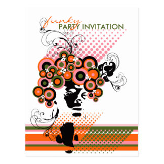 Funky Bloom Hair *01 Party Invitation Postcard Postcard