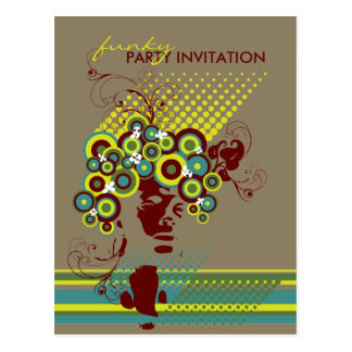 Funky Bloom Hair *02 Party Invitation Postcard Postcards