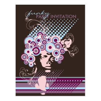 Funky Bloom Hair *03 Party Invitation Postcard Postcard