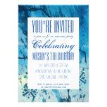 Funky Blue Abstract Art Birthday Party Invitation