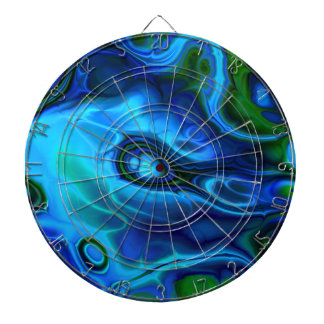 Funky Blue And Green Marble Fractal Design Dart Board