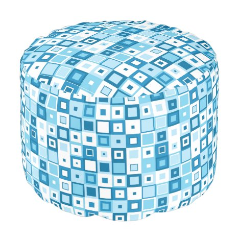 Funky Blue and White Squares on Ottoman