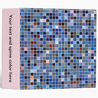 Funky Blue 'Bathroom Tiles' Pattern 3 Ring Binder