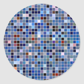 Funky Blue 'Bathroom Tiles' Pattern Classic Round Sticker