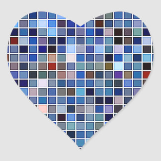 Funky Blue 'Bathroom Tiles' Pattern Heart Sticker