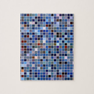 Funky Blue 'Bathroom Tiles' Pattern Jigsaw Puzzle