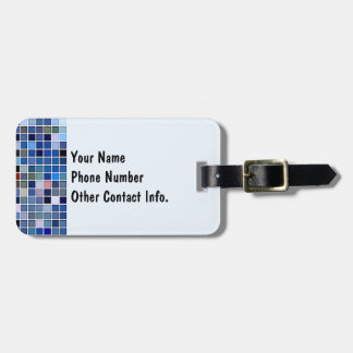 Funky Blue 'Bathroom Tiles' Pattern Luggage Tag