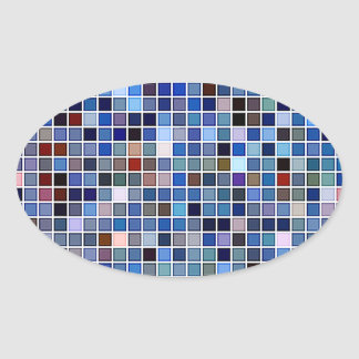 Funky Blue 'Bathroom Tiles' Pattern Oval Sticker