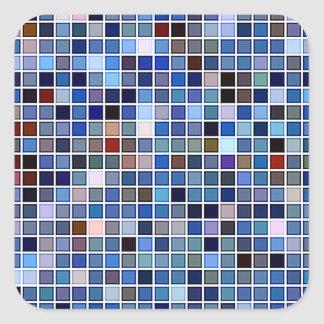 Funky Blue 'Bathroom Tiles' Pattern Square Sticker