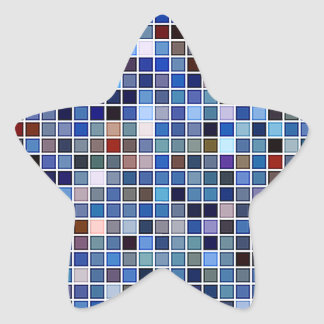 Funky Blue 'Bathroom Tiles' Pattern Star Sticker
