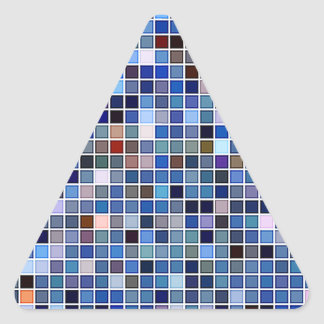 Funky Blue 'Bathroom Tiles' Pattern Triangle Sticker