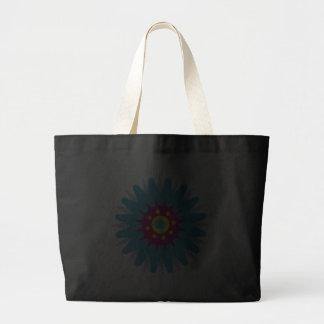 Funky blue cartoon flower black tote bag