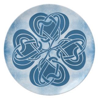 Funky Blue Celtic Knot Melamine Plate