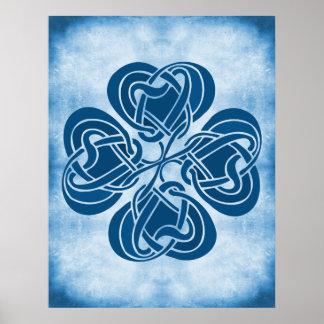 Funky Blue Celtic Knot Poster