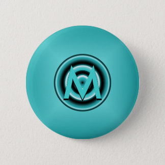 Funky Blue Circle Disco Lights Monogram Pinback Button