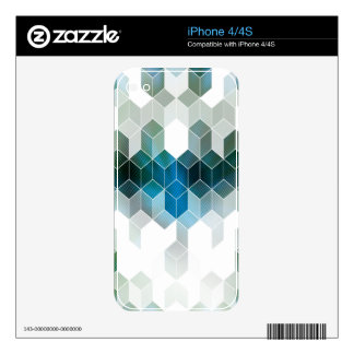 Funky Blue Cube Graphic Design Skins For The iPhone 4S