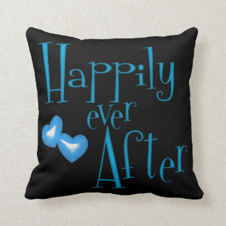 Funky Blue Faux Glitter Happily Ever After Hearts Throw Pillows